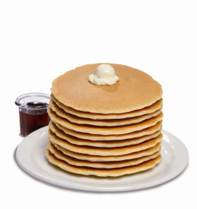 high stack of pancakes